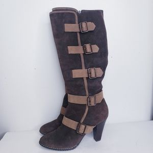 Sofft brown suede buckle boots with heel size 10